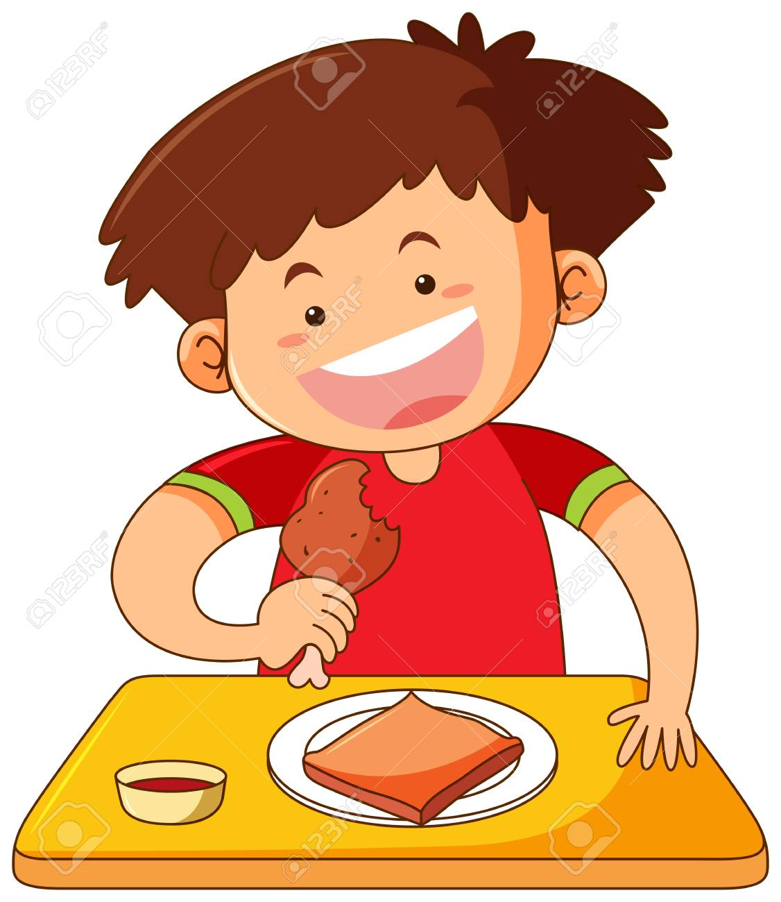 Boy eating chicken on table illustration.