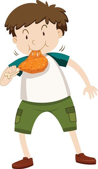 Little Boy Eating Chicken stock vectors.