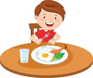 Kid Eating Breakfast Clipart.