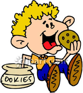 Kid Eating Cookie Clipart.