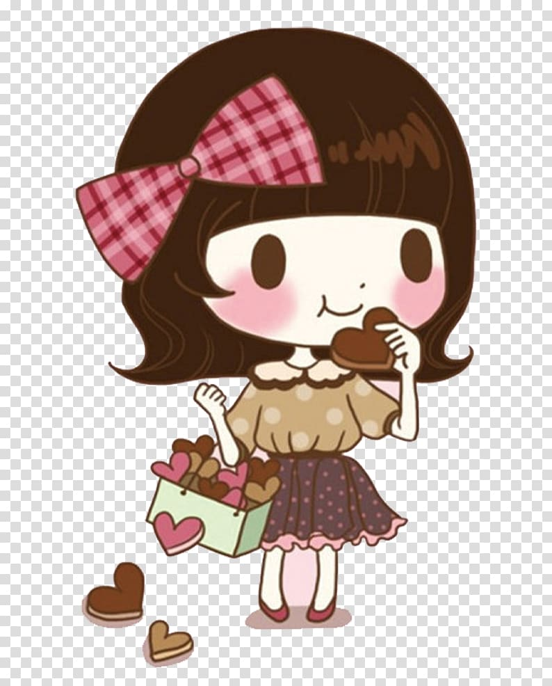 Girl eating cookies transparent background PNG clipart.