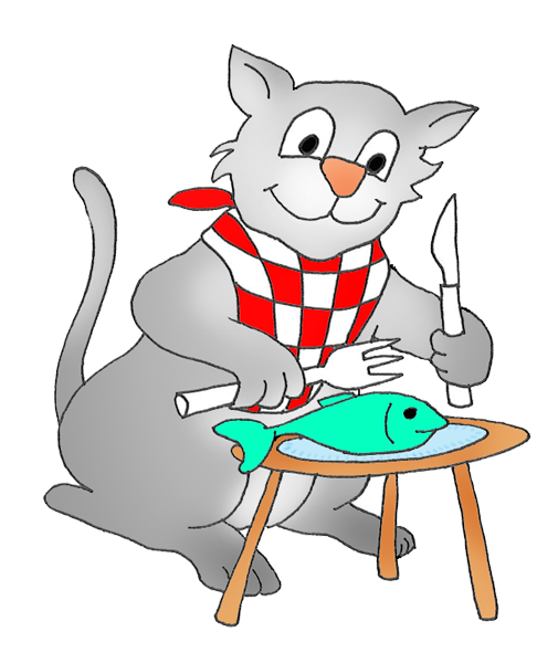 cat eating a fish clipart.