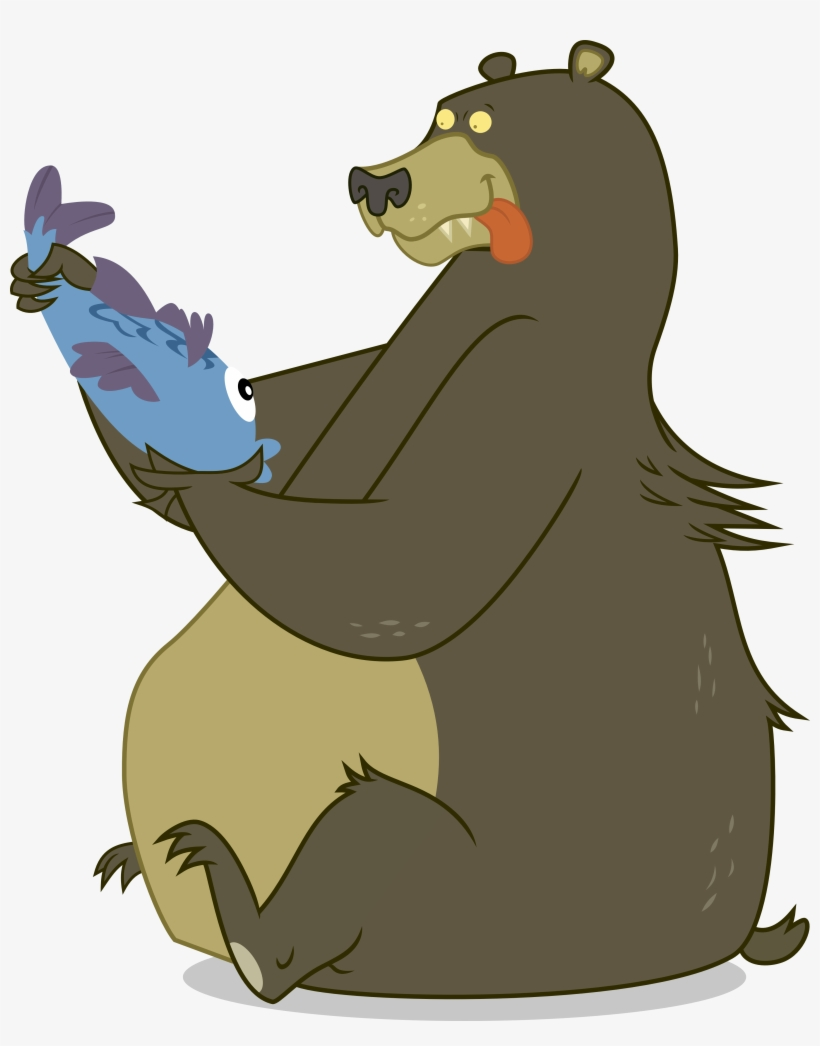 Bear Clipart Eats Fish.