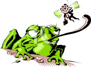 Frog Eating a Business Fly Clipart Picture.
