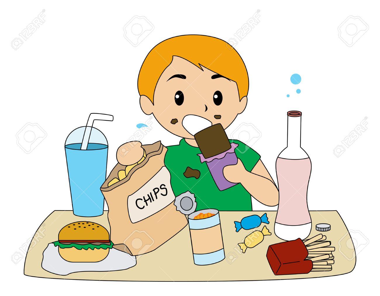 Boy Eating Junk Food.