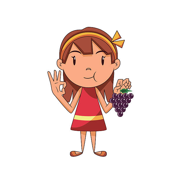 Woman Eating Grapes Clip Art, Vector Images & Illustrations.
