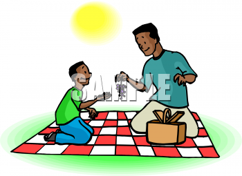 Clipart Picture of a An African American Boy and His Dad on a.