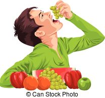 Clipart Vector of Vector of boy eating grapes using fork..