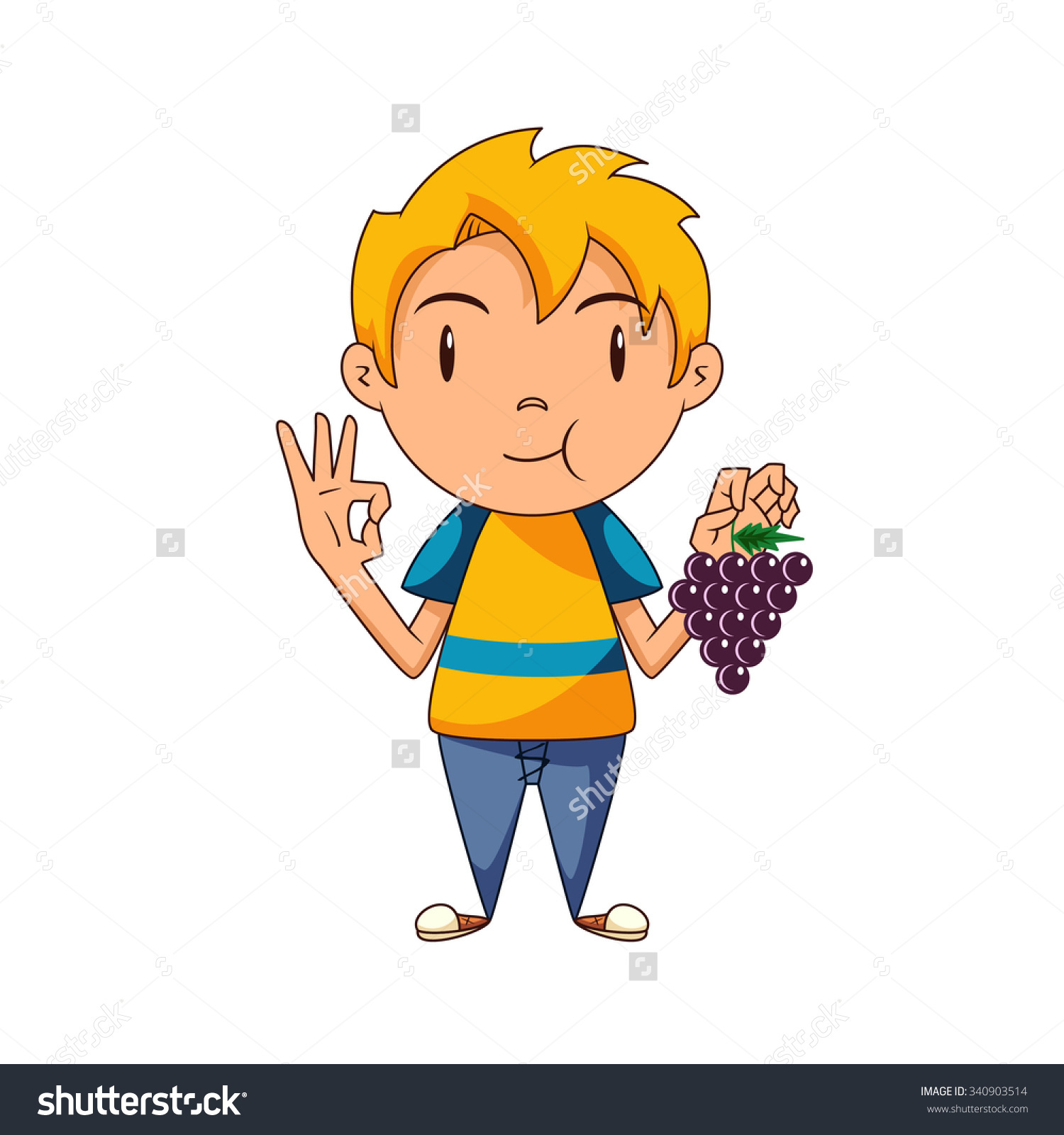 Kid Eating Grapes Vector Illustration Stock Vector 340903514.