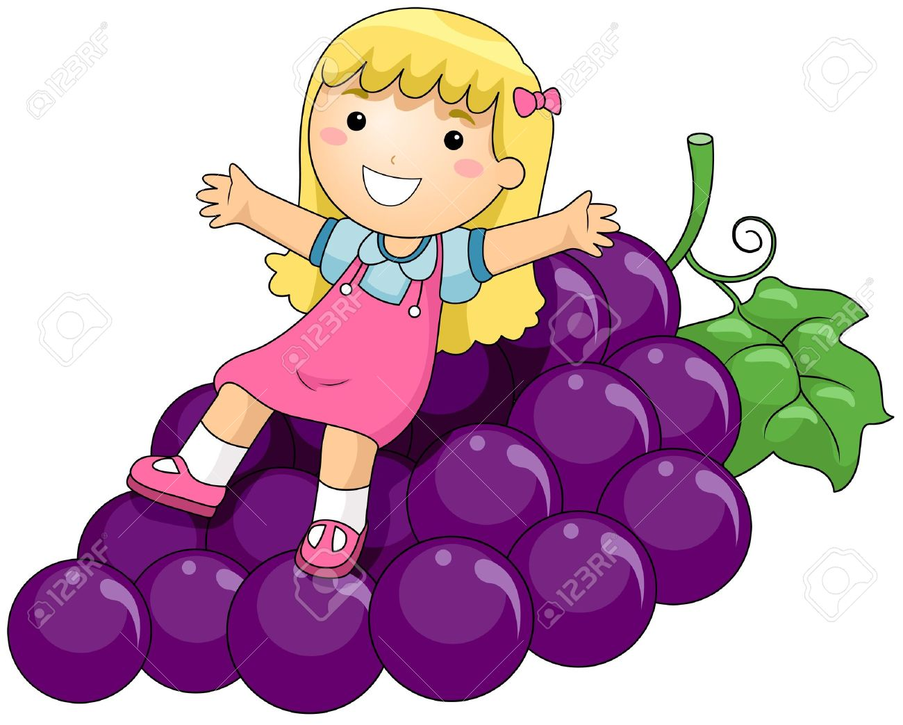 Girl On Grapes Stock Photo, Picture And Royalty Free Image. Image.