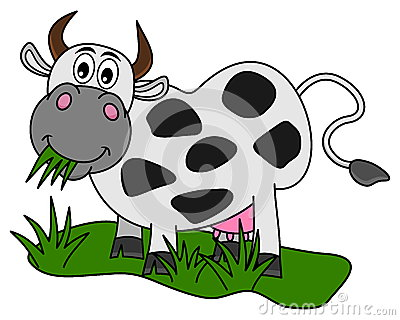 Silhouette Of Cow Eating Grass Stock Vector.
