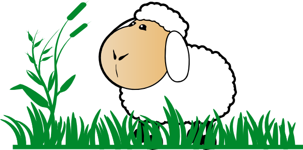Sheep eating grass clipart.