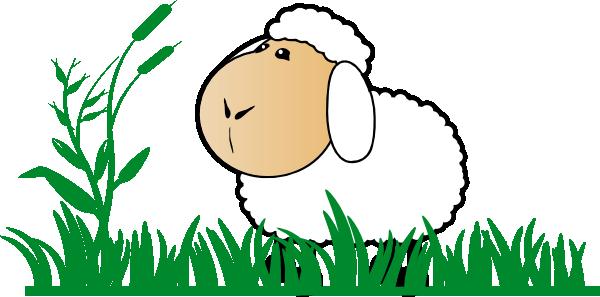 Sheep eating grass clipart.