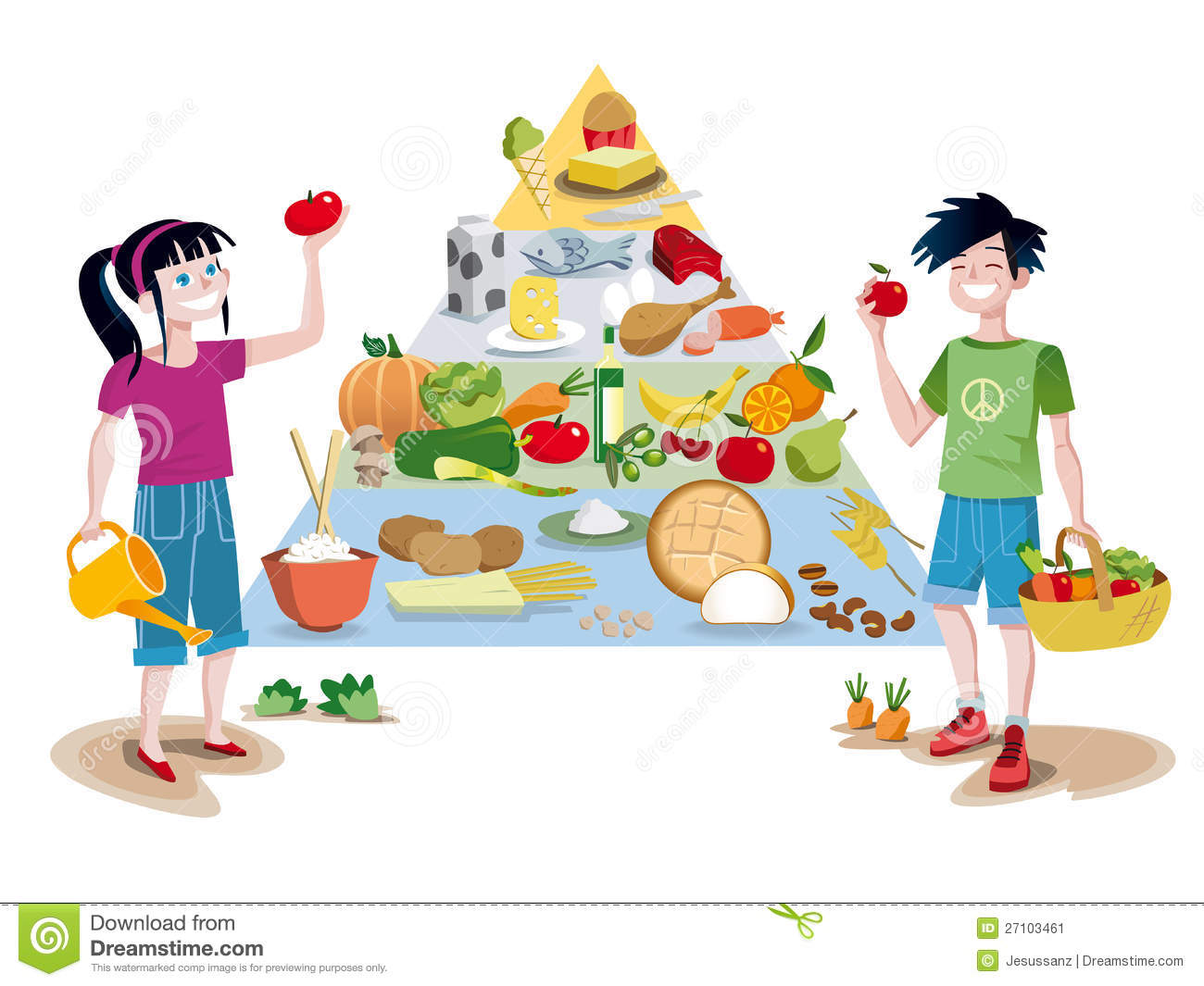 Children eating healthy food clipart.