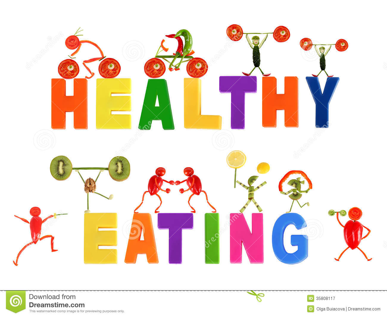 Funny Eating Healthy Clipart.