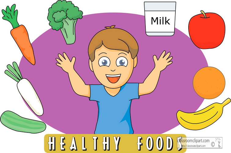 Kids eating healthy at school clipart.