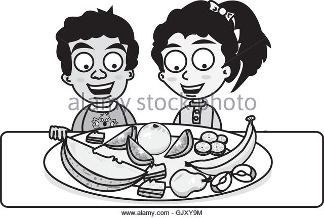 Child Eating Healthy Food Clipart Black And White.