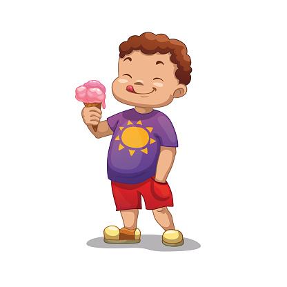 Boy and ice cream clipart.