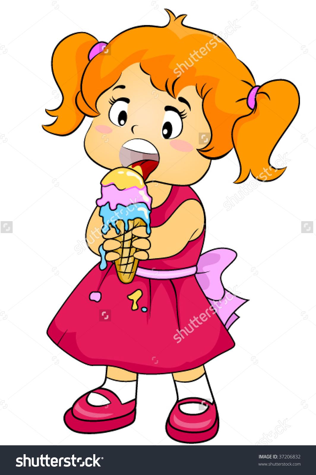 Child eating ice cream clipart.