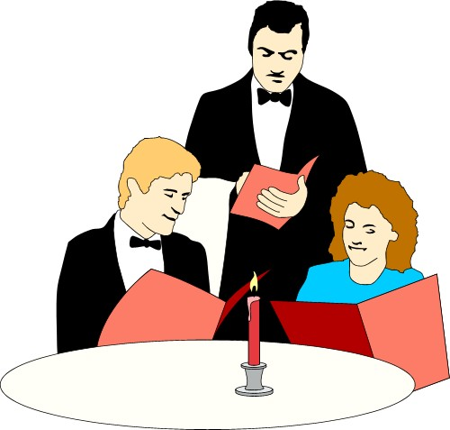 Ordering At A Restaurant Clipart.