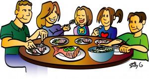 Eating Dinner At Restaurant Clipart.