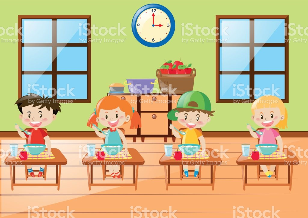 Students Eating In Class Clipart.