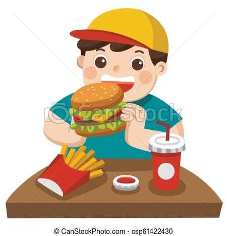A cute Boy eat hamburger with french fries, and soda. he eat fast food..
