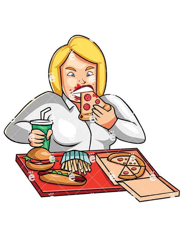 An Overweight Woman Greedily Eating Junk Food.
