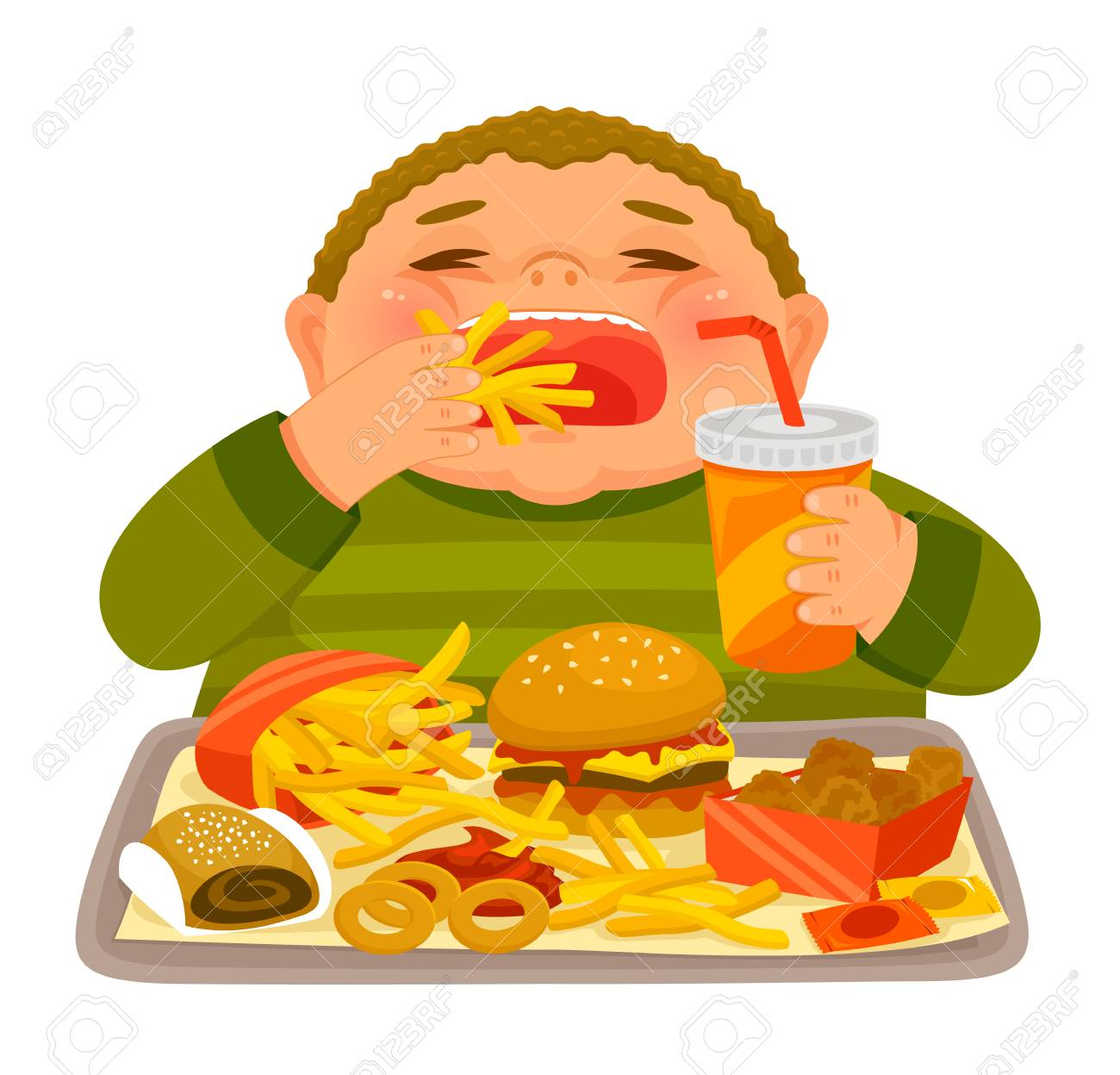 Overweight boy mindlessly eating large amounts of junk food.