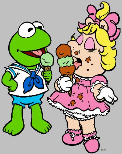 Kermit and Miss Piggy Clip Art.