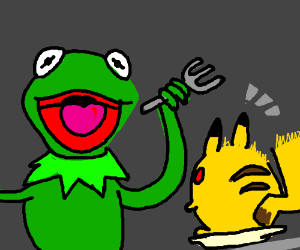 Kermit attempts to eat an obese Pikachu..