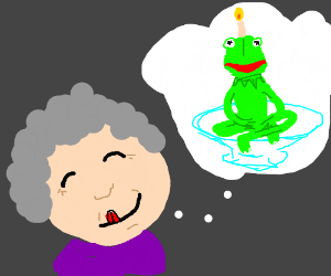 Grandmother dreams of eating kermit cake (drawing by epustiini).