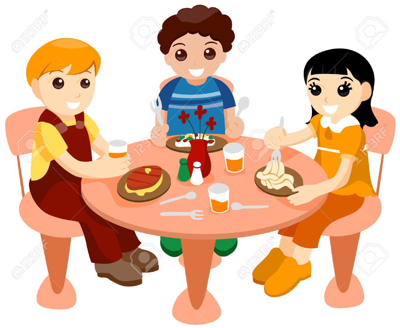Eating Lunch With Friends Clipart.