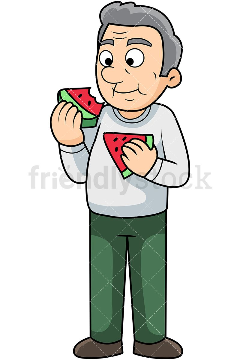 Old Man Eating Watermelon in 2019.