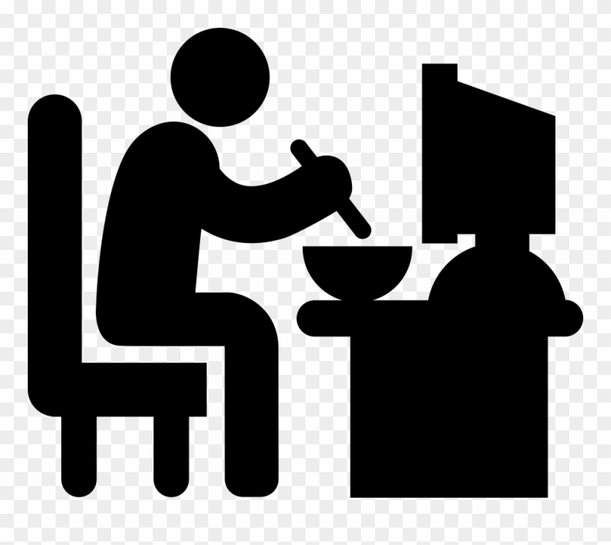 Man Sitting In His Eating Lunch Svg.
