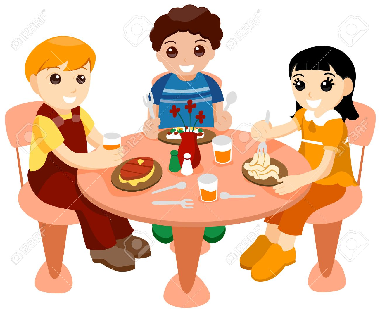 Children Dining Out with Clipping Path.