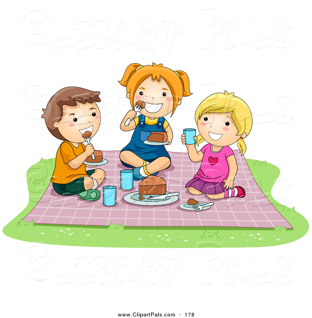 Eating Pal Clipart Of Pair Girls And Boy Food At Picnic By Png.
