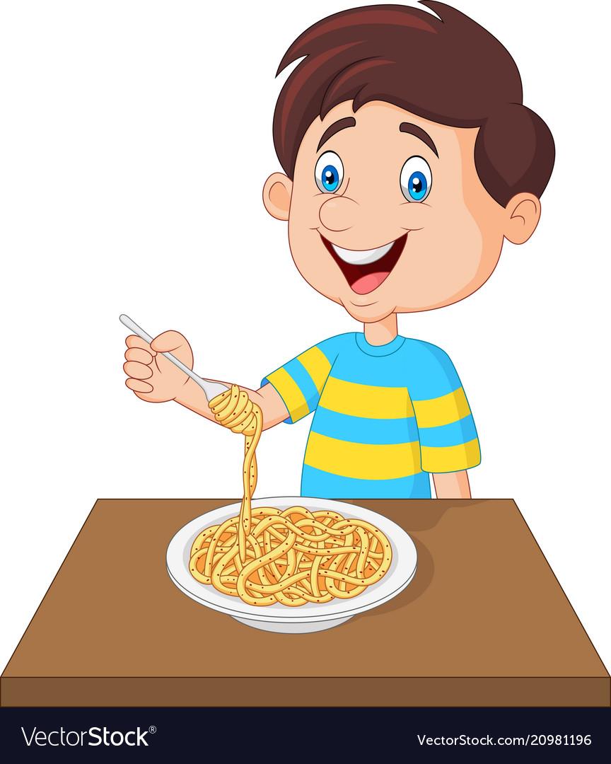 Little boy eating spaghetti.