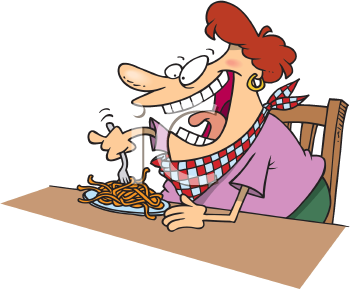 Royalty Free Clipart Image of a Woman Eating Pasta #167014.