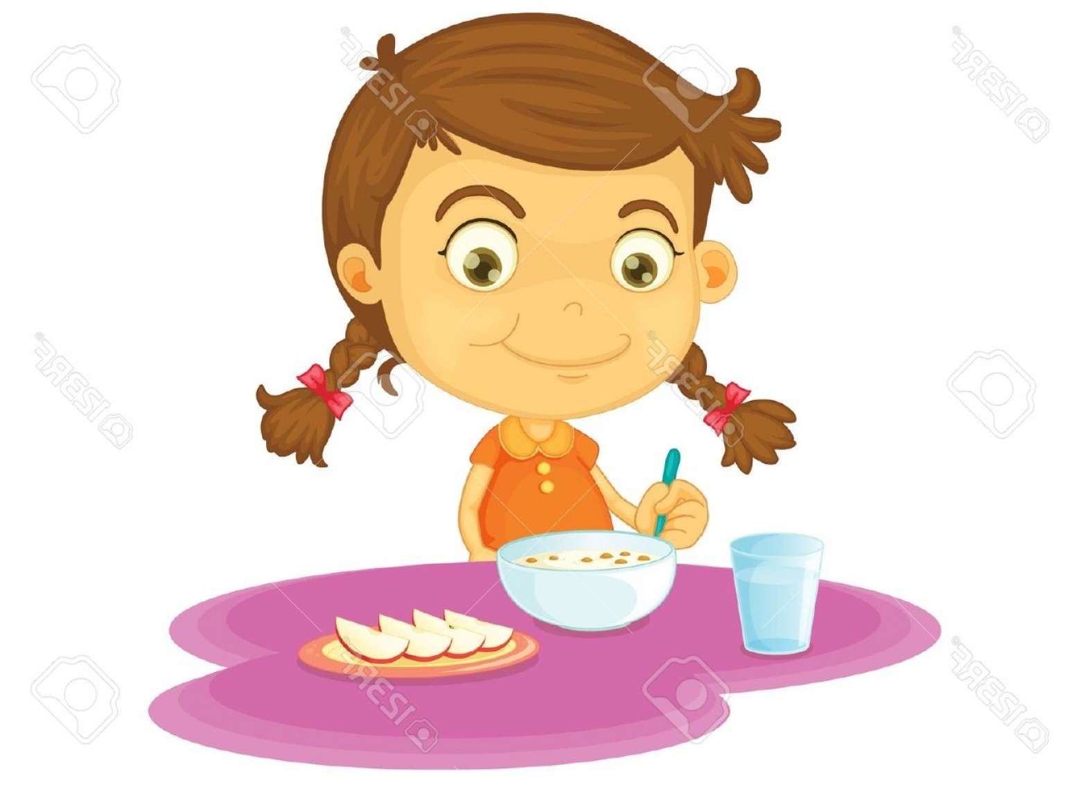 Girl Eating Clipart.