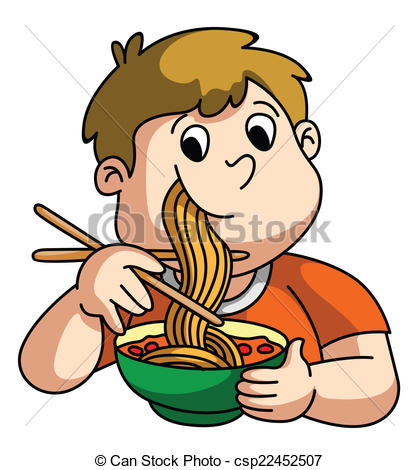 Eating Noodles Clipart.