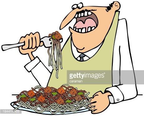 Man eating spaghetti Clipart Image.