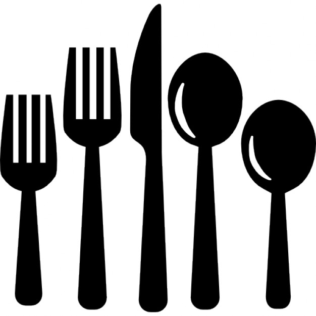 Cutlery set of eating tools Icons.