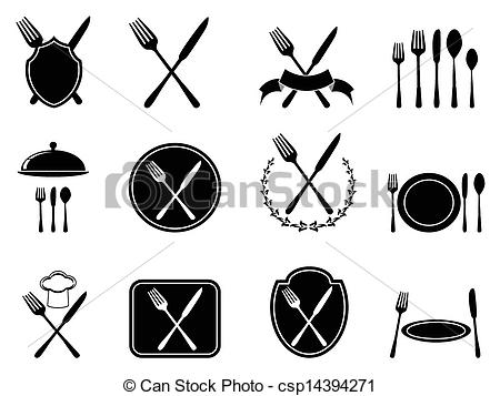 Vectors Illustration of eating utensils icons set.