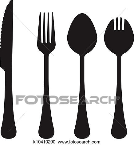 Eating utensils vector silhouettes Clipart.