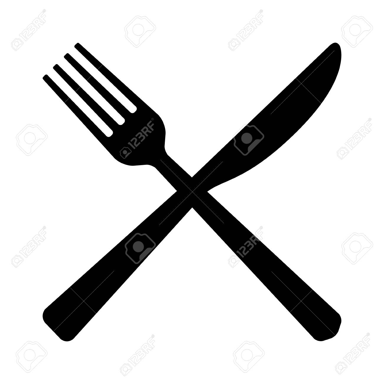 Fork and butter knife eating utensils in crossed position flat...