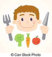 Vectors Illustration of Boy eating vegetables.