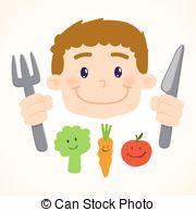 Vectors Illustration of Boy eating vegetables.