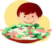 Boy Eating Vegetables Stock Illustrations.