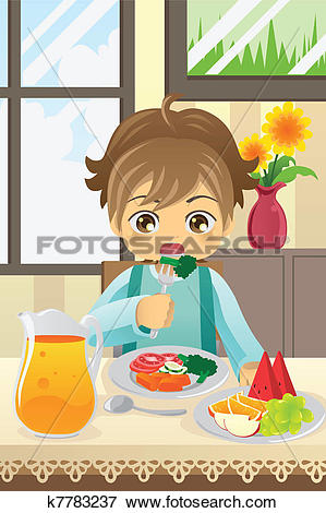 Clip Art of Boy eating vegetables k7783237.